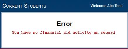 Parent Portal No Financial Aid Info Error Image