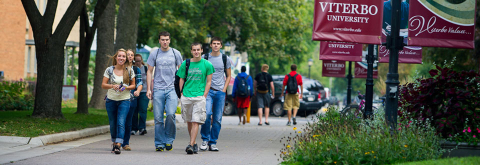Viterbo students walking on campus
