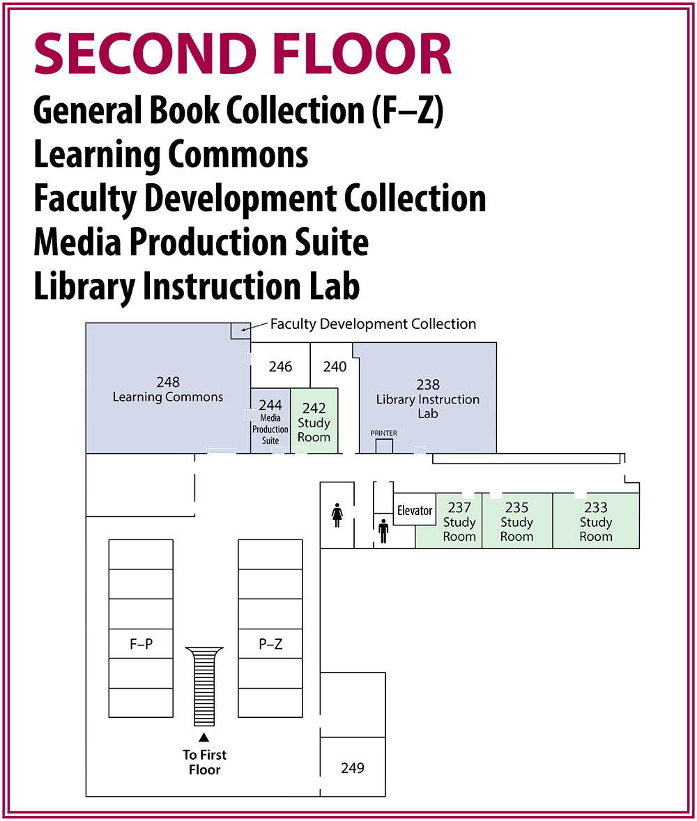 Second Floor Map of Library