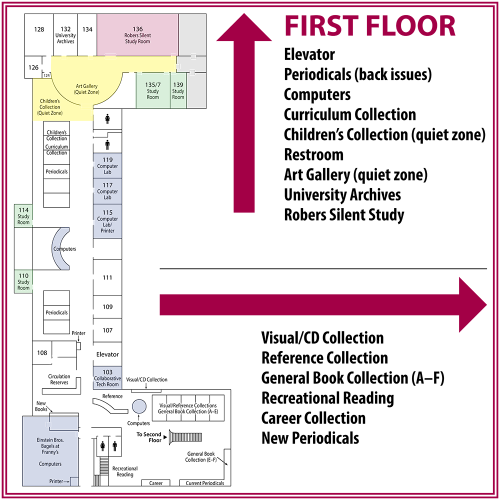 1st Floor Map of Library