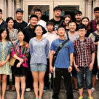 Group of international students, posing for photo on Viterbo campus