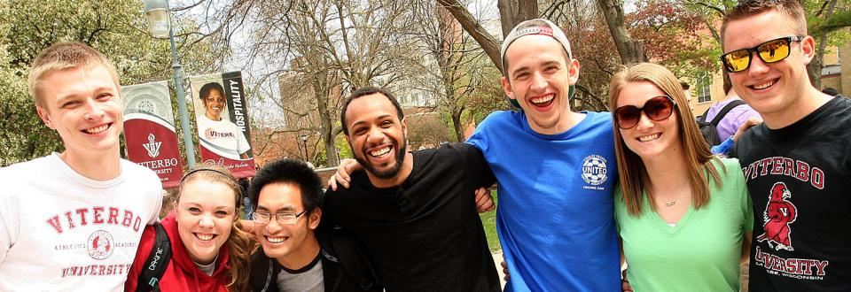 Group of Viterbo students on campus, smiling