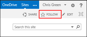 Office 365 Follow a Site Image